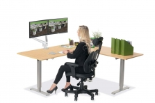 L Shaped Standing Desk Fusion Maple R 2 Multitable