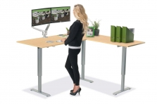 L Shaped Standing Desk Fusion Maple R 1 Multitable