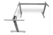 L Shaped Standing Desk Frame Silver Return Left